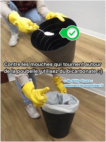 Utilisez du bicarbonate contre les mouches dans la poubelle