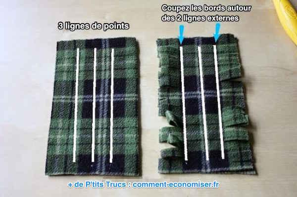 Coupez morceau tissu tout autour