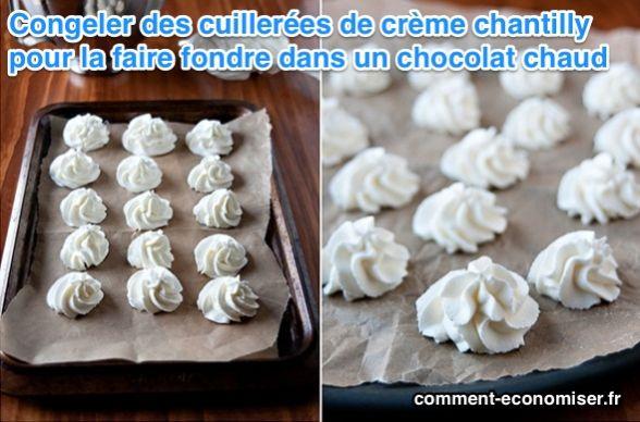 Crème chantilly glacée pour un bon chocolat chaud