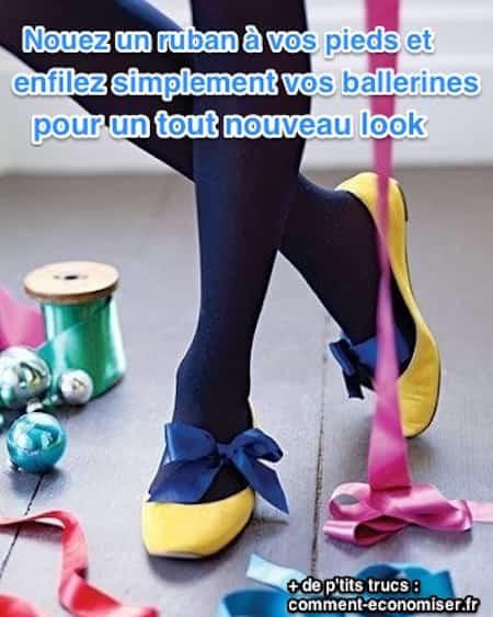 Pour personnaliser ses ballerines il suffit d'utiliser des rubans de couleur