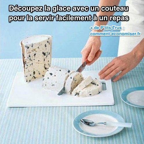 D coupez la glace avec un couteau pour pouvoir la servir facilement - Comment bien aiguiser un couteau ...
