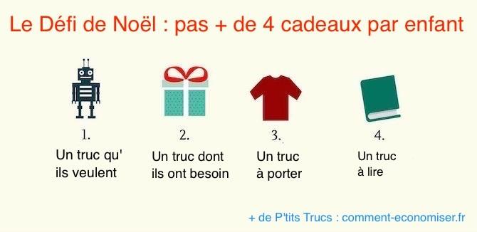Le défi de Noël est de se limiter à seulement 4 cadeaux par enfant