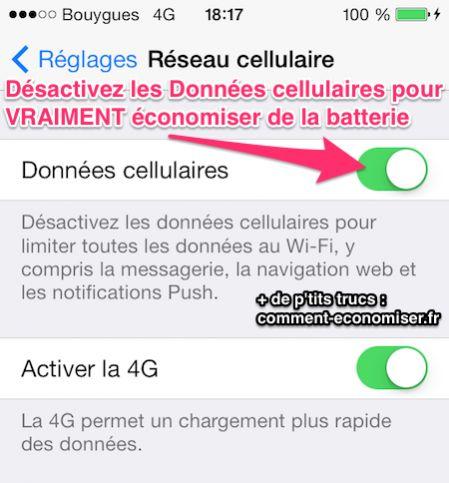 Désactivez les données cellulaires de votre iPhone pour gagner en batterie