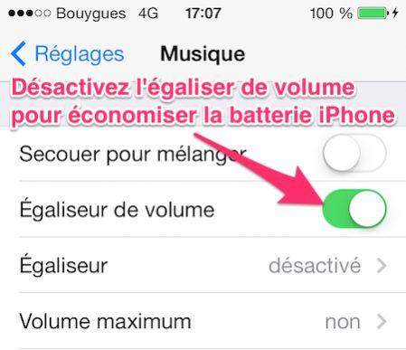Désactivez l'égaliseur de volume pour économiser la batterie iphone