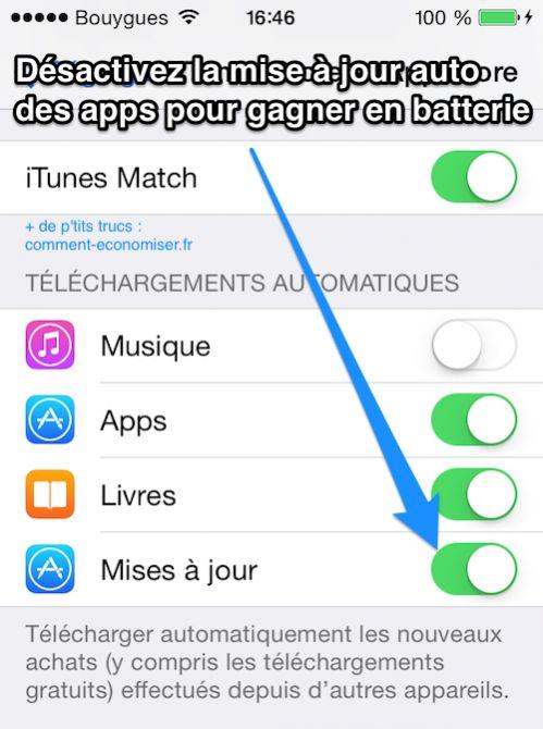 Désactivez la mise à jour auto des apps pour gagner en batterie