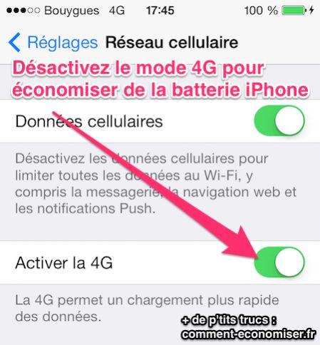 Désactivez le mode 4G pour économiser de la batterie iphone