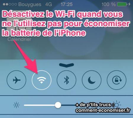 Désactivez le wifi pour économiser la batterie de l'iphone