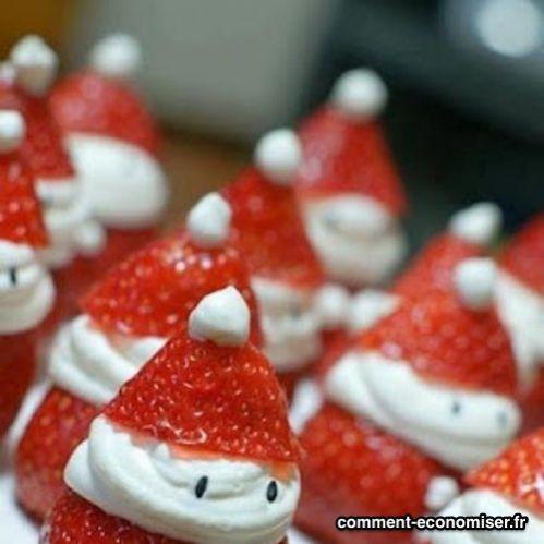 Des fraises pères noel comme dessert
