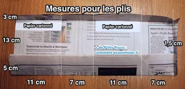 Pour réaliser votre sac cadeau DIY, voici les dimensions pour faire vos plis.
