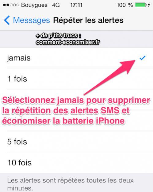 Désactivez les alertes répétitives pour économiser de la batterie iOS7