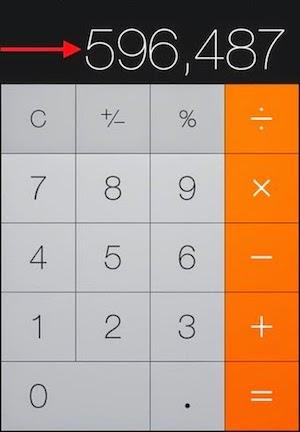 Comment effacer le dernier chiffre sur la calculette iphone