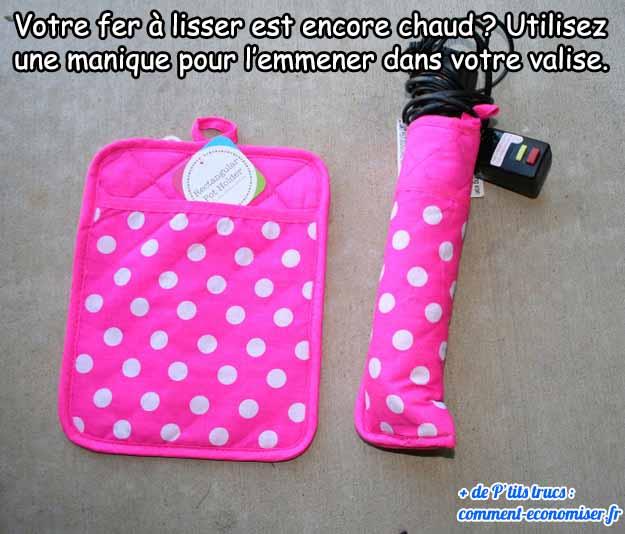utiliser une manique pour transporter fer à lisser dans une valise