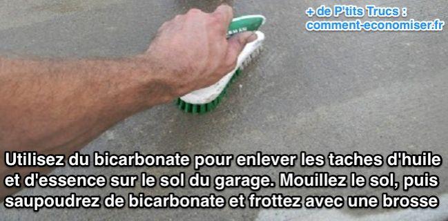 Utilisez du bicarbonate pour enlever les taches d'huile et d'essence sur le sol du garage