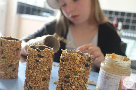 Fille qui met du beurre de cacahuète sur mangeoire pour oiseaux