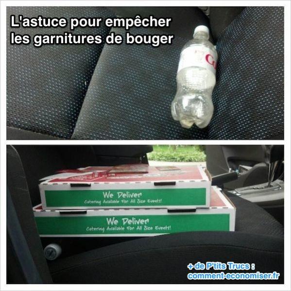 Mettre une bouteille de soda sous les pizzas pour les transporter en voiture