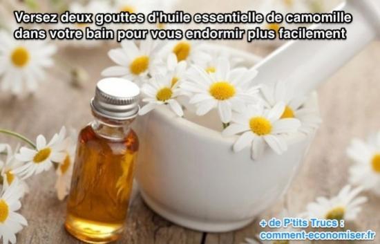 s'endormir facilement avec de l'huile essentielle de camomille