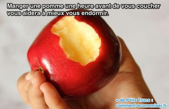 manger pomme avant coucher pour mieux s'endormir