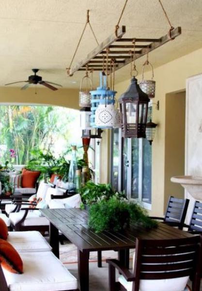 décorez votre terrasse extérieure avec une échelle
