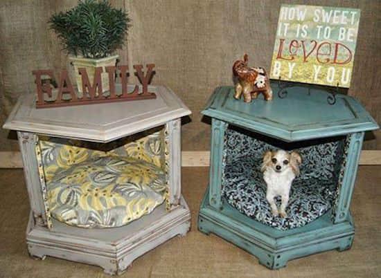 Projet déco : transformez une tables d'appoint en panier pour chien