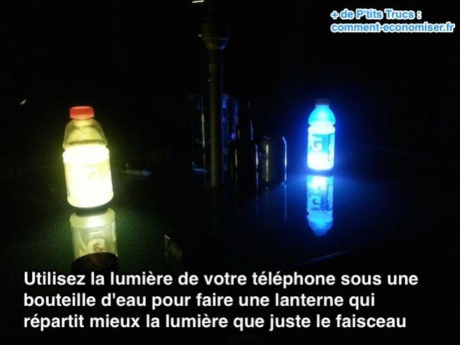 Utilisez la lumière de votre téléphone sous une bouteille d'eau pour faire une lanterne