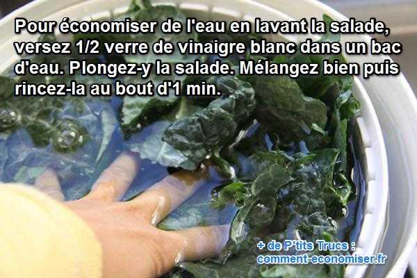 pour laver la salade en économisant de l'eau utilisez du vinaigre blanc