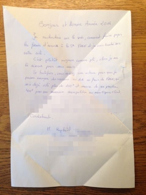 Lettre de Raphaël envoyé sans enveloppe