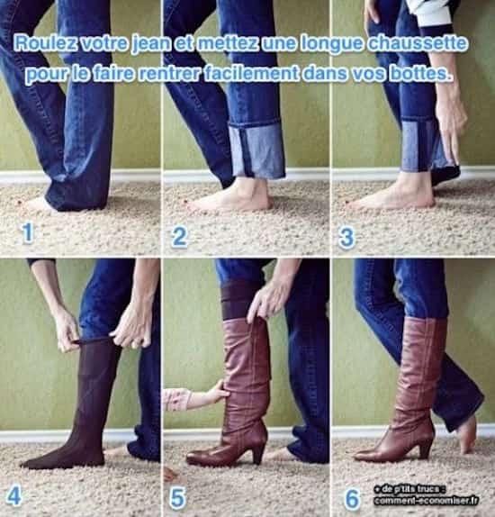 technique pour faire rentrer son jeans dans les bottes