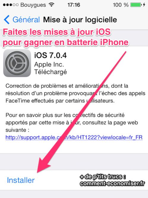 Faites les mise à jour iPhone pour gagner en batterie