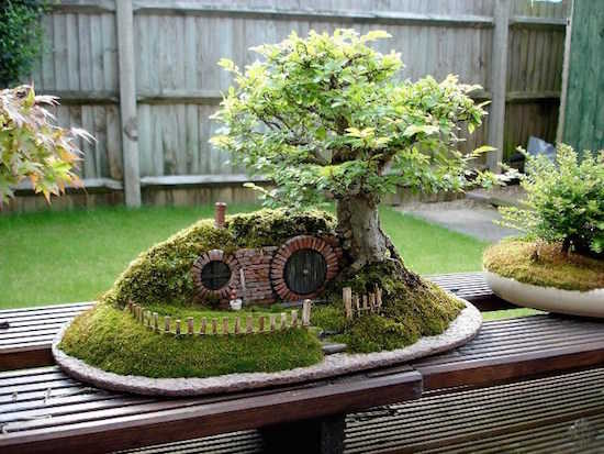 un jardin miniature en maison hobbit - Creer Un Jardin Japonais Miniature