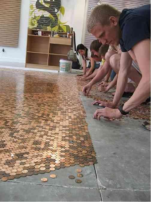 recycler objets décoration parquet mosaïque pièce de monnaie