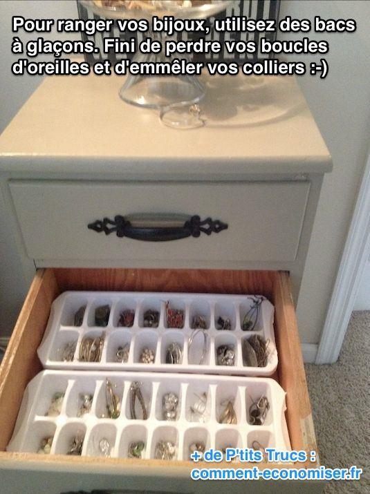 Utilisez des bacs à glaçons pour ranger vos bijoux facilement