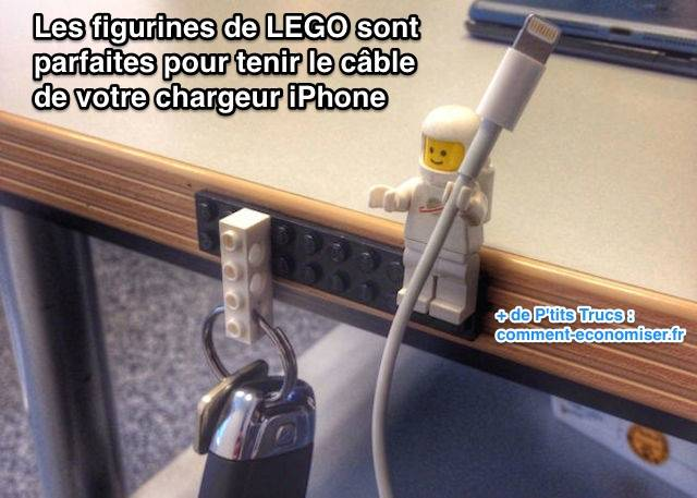 rangement cables iphone lego
