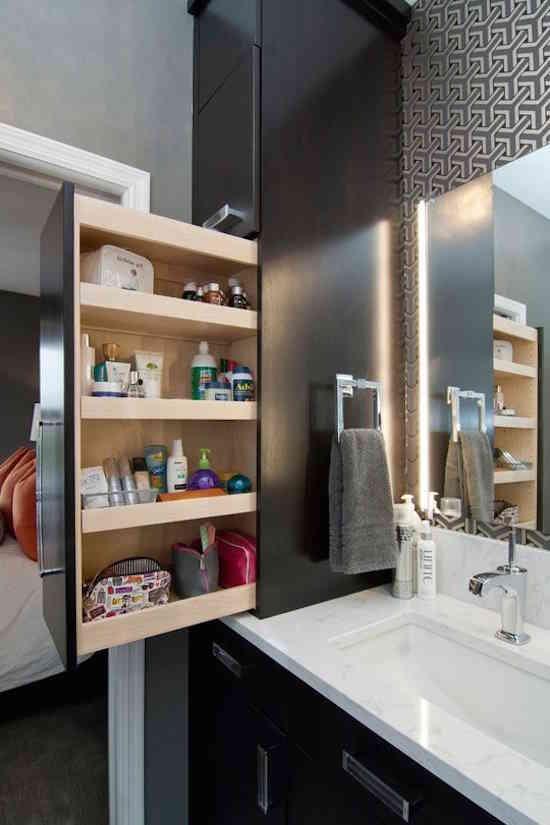 10 rangements cach s et astucieux que vous aimeriez bien avoir la maison. Black Bedroom Furniture Sets. Home Design Ideas