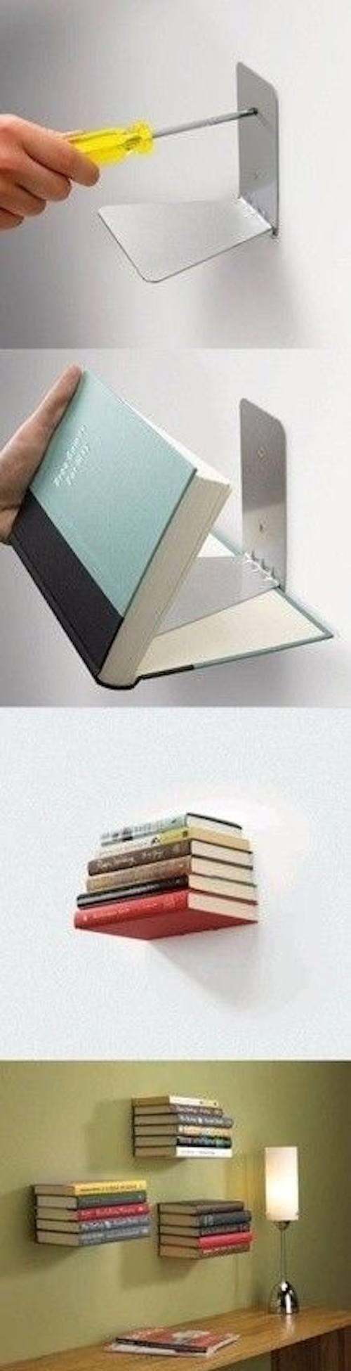 Fixez des étagères invisibles pour ranger vos livres.