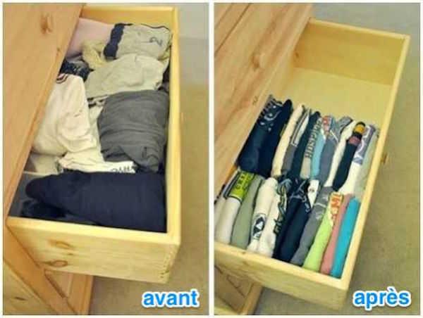 7 rangez vos t shirts la verticale pour gagner de lespace - Astuces De Rangement Maison