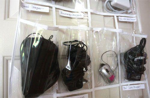 Ranger appareils électroniques dans rangement chaussures