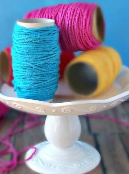 ranger le fil et la laine sans emmêler rouleau papier toilette
