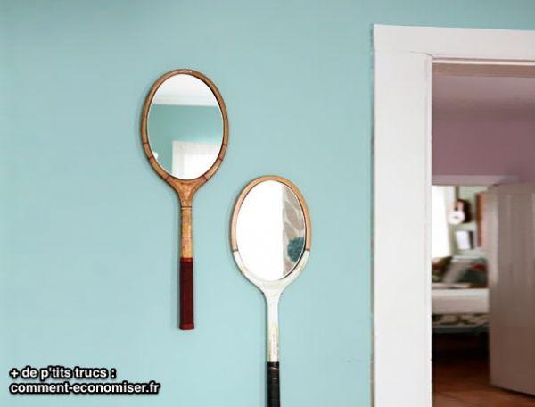 Raquette de tennis recyclée en miroir