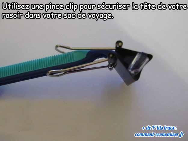 utiliser un pince clip pour sécuriser votre rasoir dans le sac de voyage