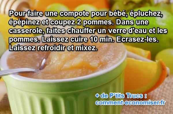 La compote de pommes pour b b notre recette facile et - Temps de conservation compote maison pour bebe ...