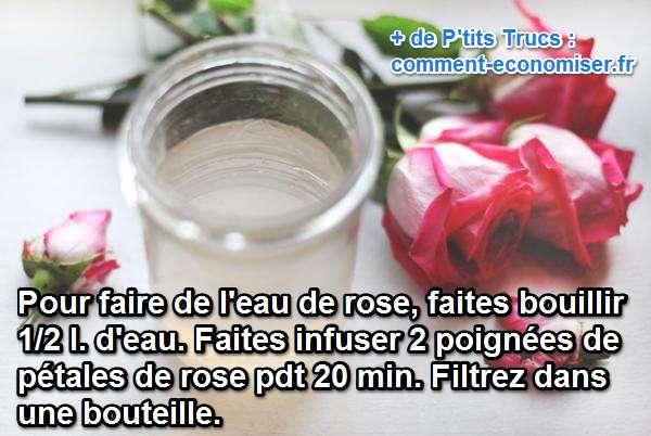 recette rapide de l'eau de rose maison