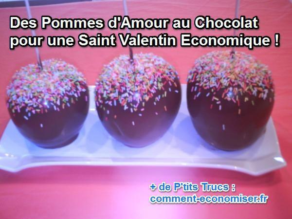 recette économique des pommes d'amour au chocolat