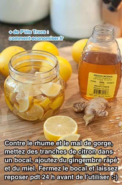 Utilisez du citron, du miel et du gingembre comme remède contre le mal de gorge