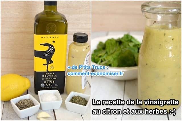 ingrédients pour une vinaigrette citron et herbes
