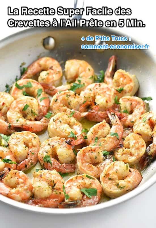 la recette rapide et express des crevettes à l'ail
