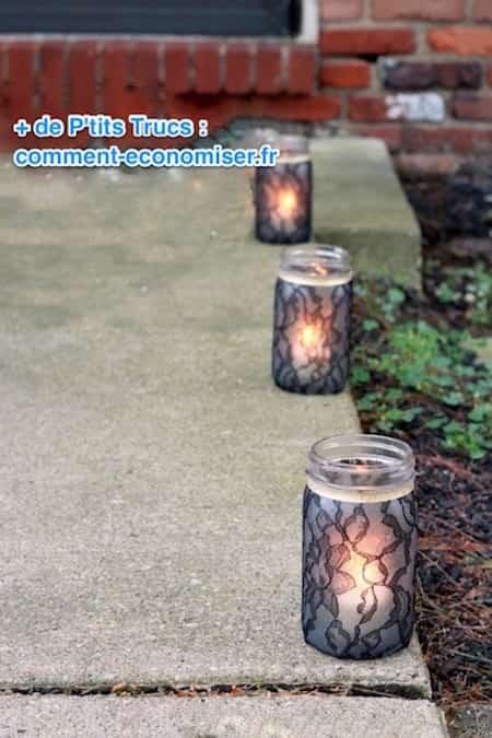 lampion dentelle noire à fabriquer pour halloween
