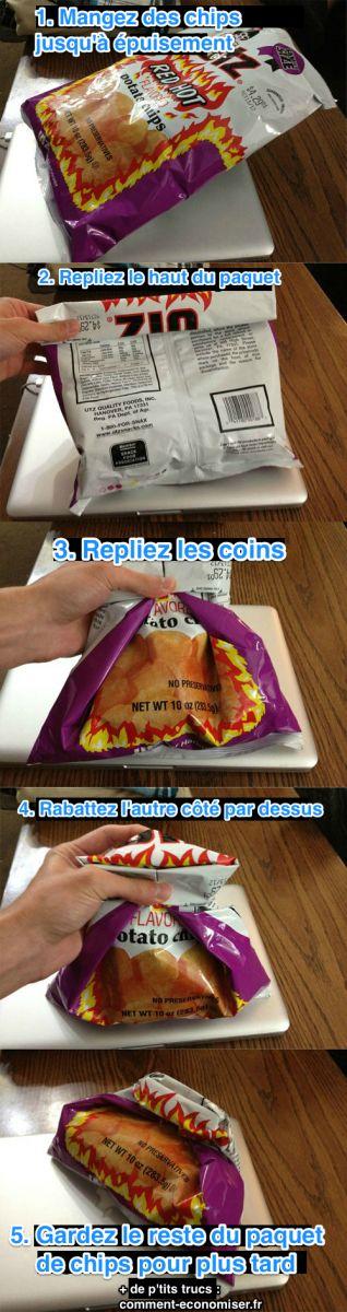 Voici comment fermer le paquet de chips pour le finir plus tard