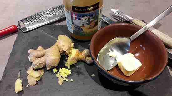 remède contre la toux au beurre et au gingembre