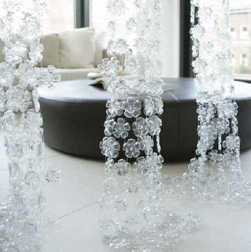 fabriquer rideau baroque avec bouteille recyclé