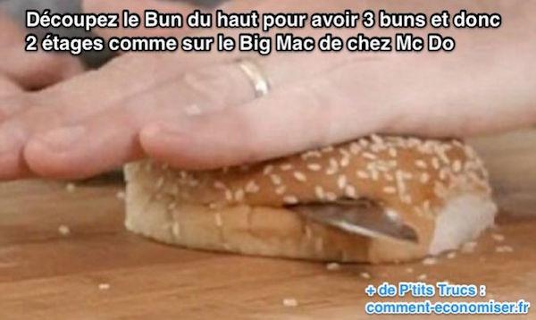 comment découper le buns de son burger pour avoir un big mac à 2 étages